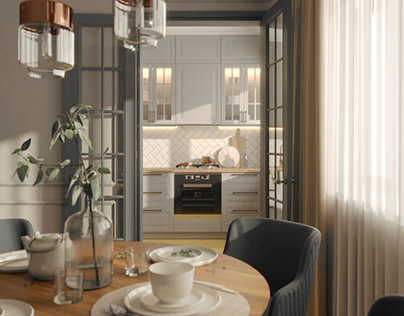 Living room and kitchen design