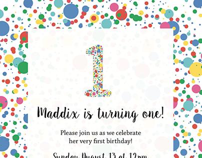 Maddix 1st Bday Invites