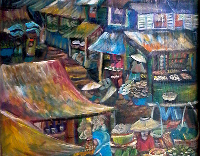 Indonesian Market Scenes - Painted Wooden Wardrobe Door