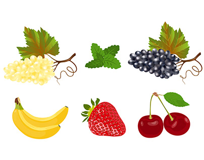 Juicy fruits and berries isolated on a white