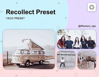 Recollect - VSCO Preset - Filteresco app