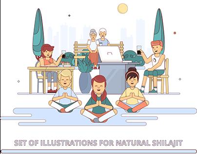 Set of illustrations for natural Shilajit