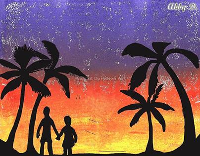 Tropical Sunset Block Print