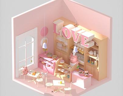 2.5D Pig Cartoon house/ Cartoon Store by C4D