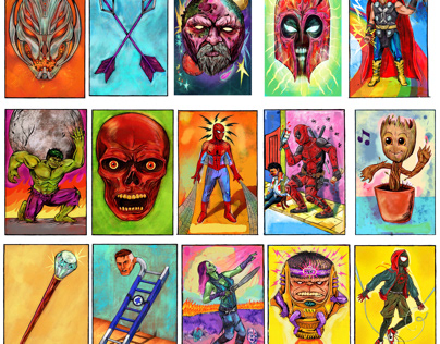 Marvel Comics Loteria inspired images.