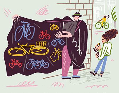 Sketchy Bike Seller – For Chrismon Magazine
