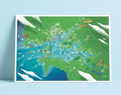 Carte touristique amoureuse du littoral Finistérien