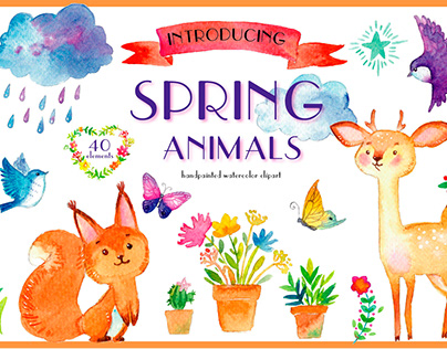 SPRING ANIMALS. Watercolor cute clipart.
