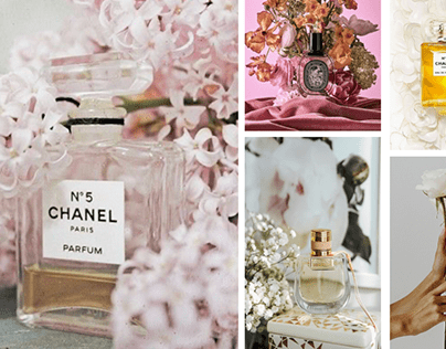 Images that persuade: Moodboard of perfume with flowers