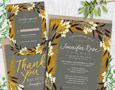 Earthy Floral Bat Mitzvah Invitation (suite)