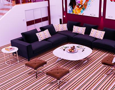 Kitchen living room interior design. Raspberry color.