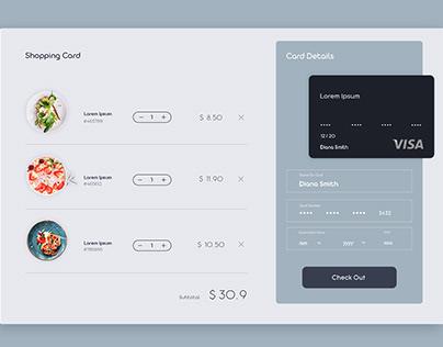 UI For Restaurant Shopping Card