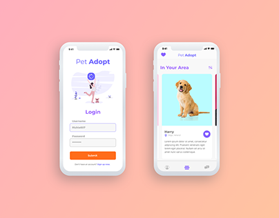 Pet Adoption App Prototype - UI / UX