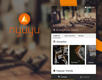 Nyuyu - App design for Hair & Beard styling needs
