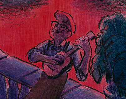 Cavaquinho - Pastel and watercolor drawing on Moleskine