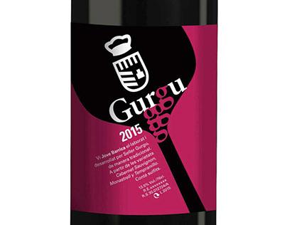 Gurgu. Etiqueta de botella de vino.
