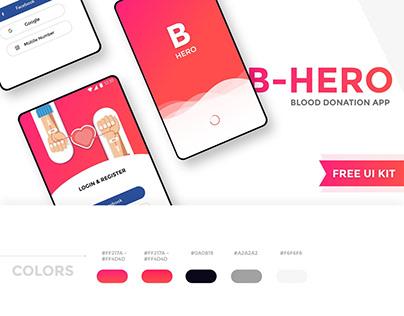 B Hero - Blood donation app free UI kit