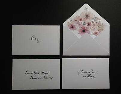 Wedding envelopes with calligraphy