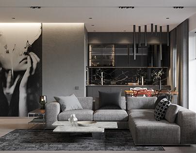 Livingroom in black Shmidt Studio
