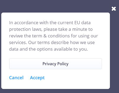 Slate Privacy Policy Popup (Rotate) - Jet Popup