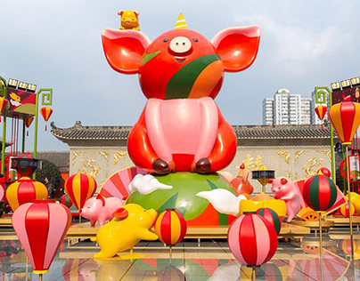 Year Of The Pig installation and illustration campaign