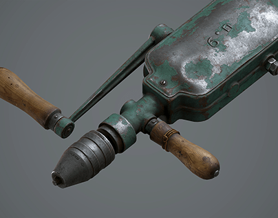 Pushing hand drill (Game ready 3d asset)