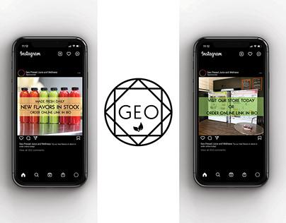 Geo Pressed Menu and Social Media