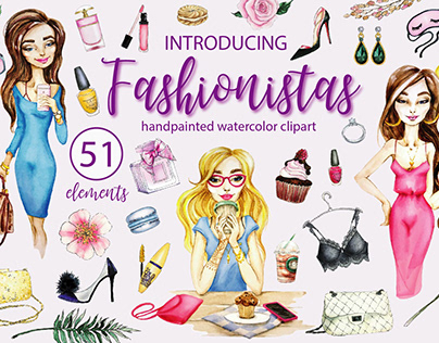 FASHIONISTAS - hand painted watercolor clipart