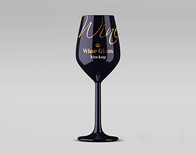 Glossy Wine Glass Mockup in PSD