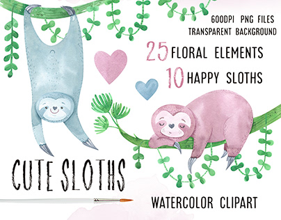Watercolor funny sloths clipart