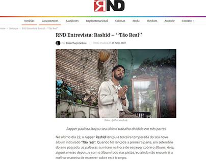 "RND Entrevista: Rashid – ""Tão Real"""