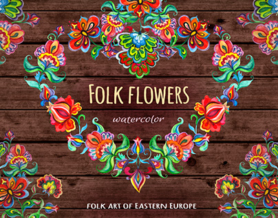 Folk flowers. Watercolor