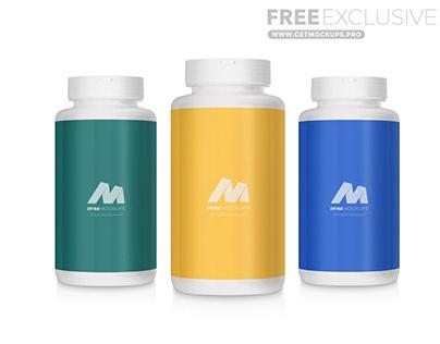 Pills Plastic Bottle Free Mockup