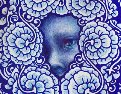 Among blue flowers