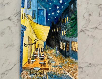 Pen and Watercolor: Van Gogh Evening