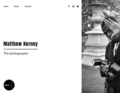 Landing Page for the photographer