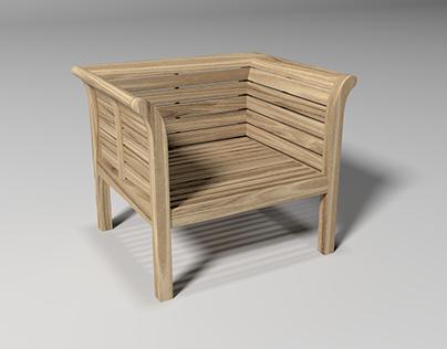 Wooden chair. 3d model