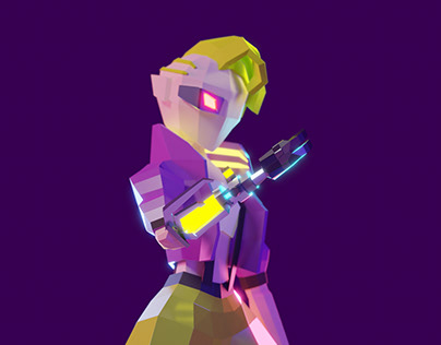 Lowpoly character: cybergirl