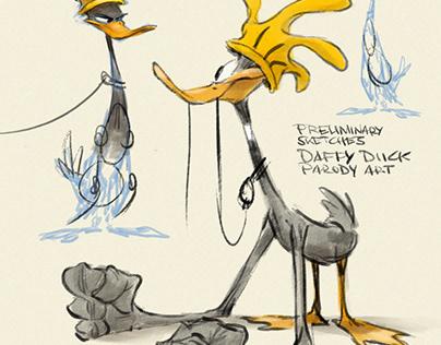 Daffy Duck inspired parody painting