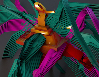 Geometric Colorful Abstract Swan Art