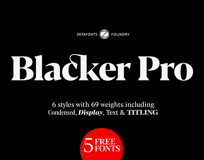 Blacker Pro Typeface superfamily with five free fonts.