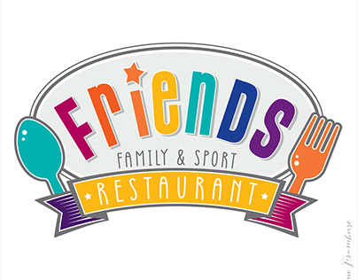FRIENDS RESTAURANT logo and characters