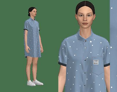 CLO 3D - WOMEN'S CHAMBRAY PRINTED LONG SHIRT
