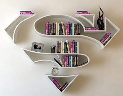 超人,标志,书架,interrior、设计书架