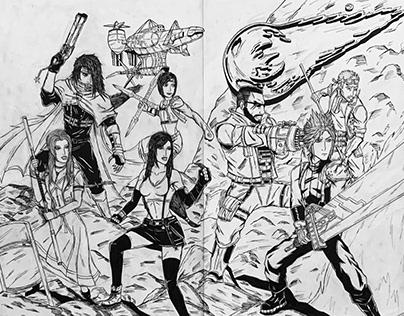 Final Fantasy VII homage to X-Men #1 by Jim Lee