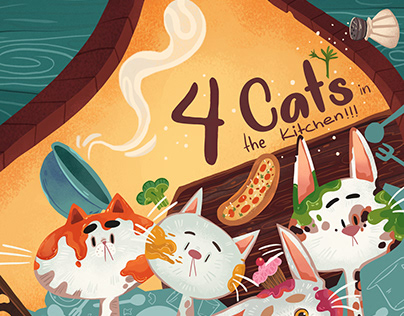 4 Cats in the Kitchen| Faux Cover