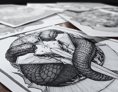 Ink and paper. Skull's illustrations