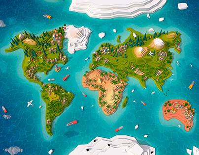 Cartooon Low Poly Earth Map