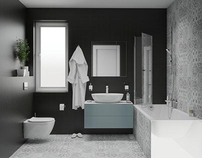 Black bathroom in Flat #blackmosaic #patchwork