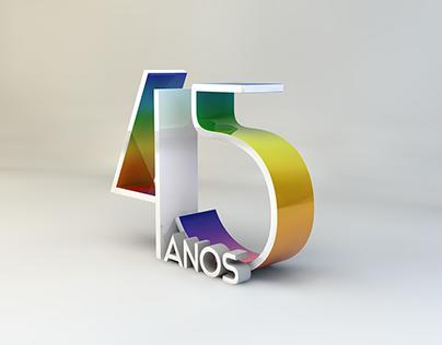 Marca comemorativa dos 45 anos da TV Verdes Mares